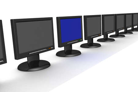 switched: A line of the switched off monitors and one included.