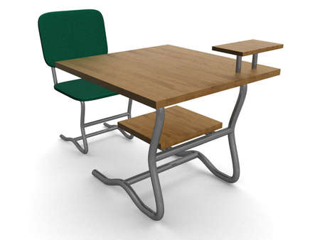 School desk and chair. 3D image photo