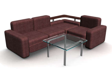 little table: Sofa and glass little table. 3D illustrations.