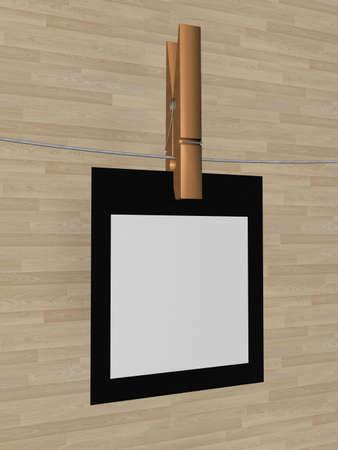 one sheet: Un foglio di carta appeso a una corda. 3D image