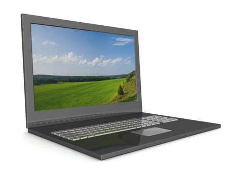 Open laptop with a landscape. 3D image. Stock Photo - 2225823