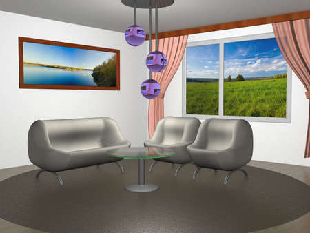 portiere: Interior of a home room. 3D image.