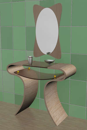 Interior of a bathroom. 3D image. photo