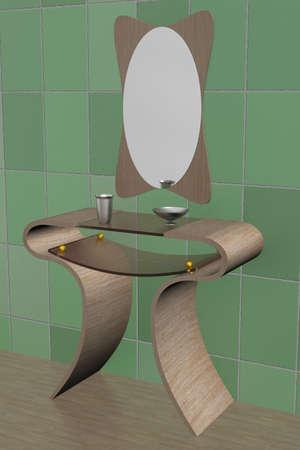 bathe mug: Interior of a bathroom. 3D image.