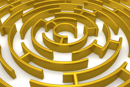 output: The gold labyrinth with reflection. 3D image.