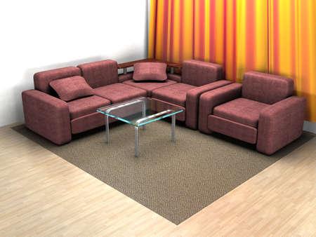 Interior de una casa de habitaci�n. De im�genes en 3D.  Foto de archivo - 2225854