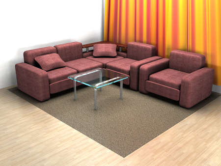 settee: Interior of a home room. 3D image.