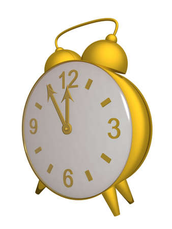o'clock: Old alarm clock. 3D image.