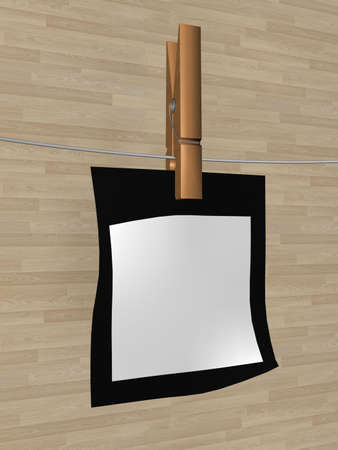 One sheet of a paper hanging on a cord. 3D image photo