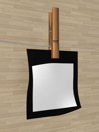one sheet: Un foglio di carta appeso su un cavo. 3D