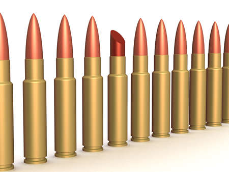 priming paint: Lipstick among of some bullets. 3D image.