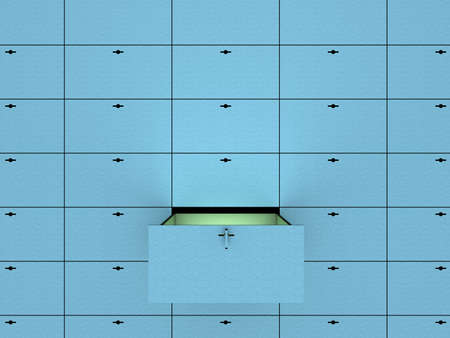 vaulted door: Open cell in safety deposit box. 3D image.