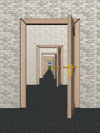 A row of the open doors. 3D image. photo