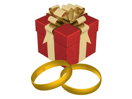 closed ribbon: Gift box with wedding rings. 3D image. Stock Photo