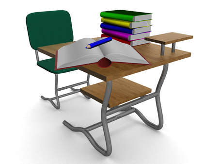 School desk with textbooks and a pencil. 3D image. photo