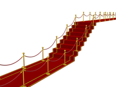 Red carpet path on a ladder. 3D image. Stock Photo