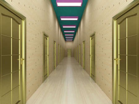 Corridor with a number of doors. 3D image. photo
