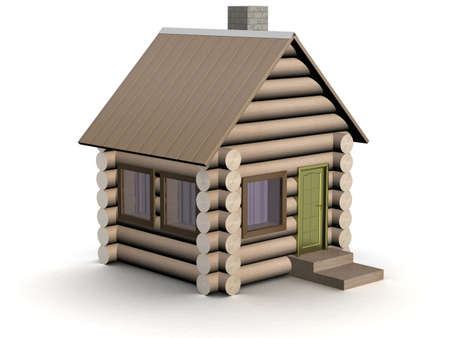 log wall: Wooden small house. The isolated illustration. 3D image. Stock Photo