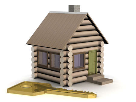 threshold: Wooden small house with a key. The isolated illustration. 3D image.