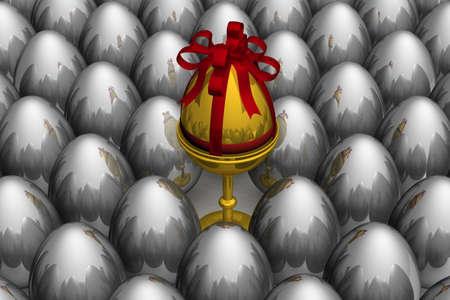 One gold egg among metal. 3D image. photo