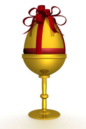 priceless: Gold egg in packing. 3D image. The isolated illustration.