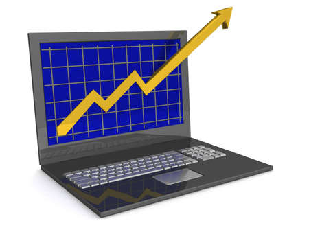 financial growth: Laptop. The concept of financial growth. 3D image.