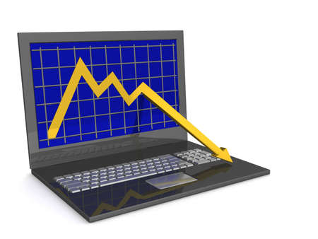 Laptop. The concept of financial falling. 3D image. Stock Photo - 2454991