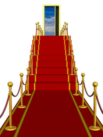 Red carpet path on a ladder with an open door against clouds photo