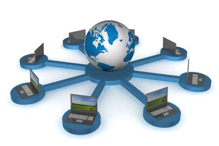 transmit: Global network the Internet. 3D image.