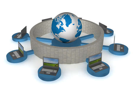 The protected global network the Internet. 3D image. photo