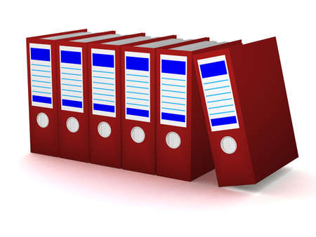 Row of red folders with documents on a white background photo