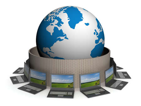 Protected global network the Internet. 3D image. Stock Photo - 2557523