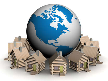 Wooden small houses round globe. 3D image. Stock Photo - 2557526