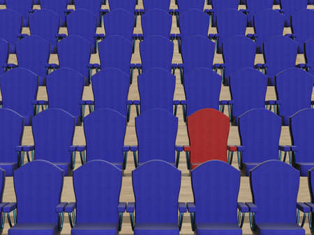 lecture hall: Rows of dark blue armchairs and one red. 3D image.