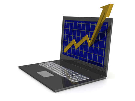 Laptop. The concept of financial growth. 3D image. Stock Photo - 2557499