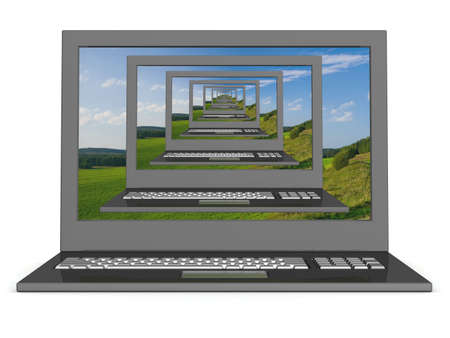 recursive: Recursive 3D  image of laptops with a landscape on the screen.