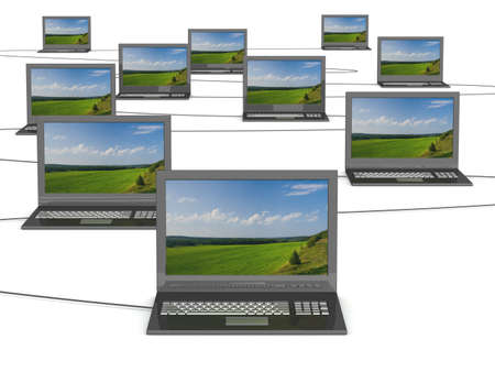 intranet: Conceptual image of a network from laptops. 3D illustrations.