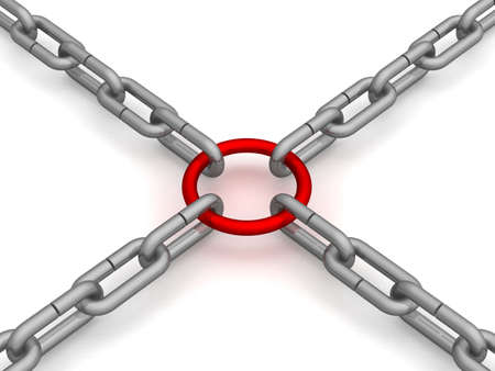 Chain fastened by a red ring. 3D image. Stock Photo - 2633342