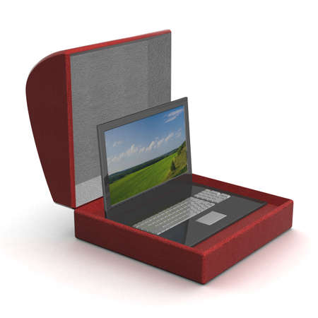 powerbook: Laptop in a gift box. 3D image. Stock Photo