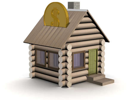 Wooden small house a coin box. 3D image.
