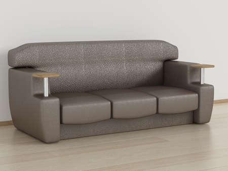 armrest: Leather sofa in a room. 3D image.