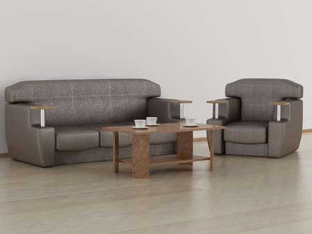 settee: Living room interior. 3D image.