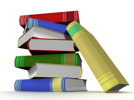 verses: Pile of books. 3D the isolated image. Stock Photo