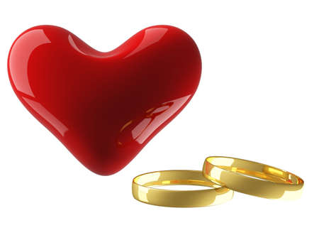 Heart with wedding rings on a white background. 3D image. Stock Photo - 2843097