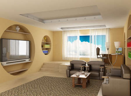 Interior of a room of rest. 3D image Stock Photo - 2904752