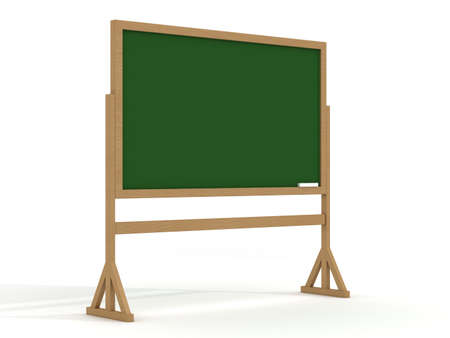 highschool: Blackboard with a chalk on a white background. 3D image. Stock Photo