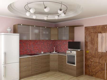 laminated: Interior of modern kitchen. 3D image.