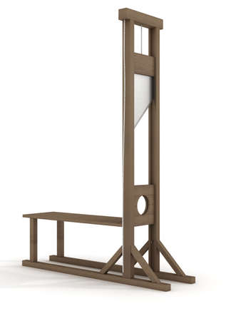 hopelessness: Guillotine on a white background. 3D image.