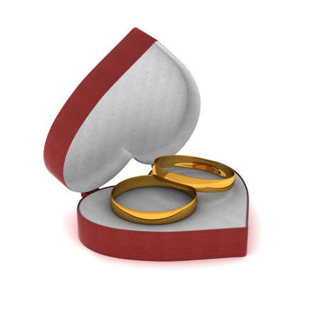Gift box with gold rings in the form of heart. 3D image. photo