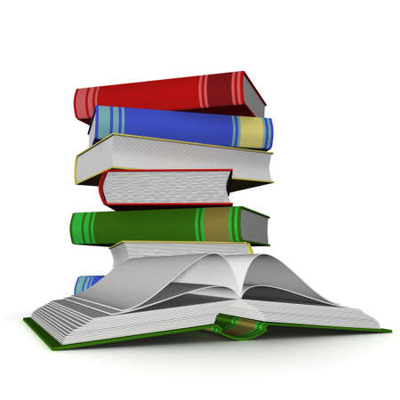 literatures: Pile of books. 3D the isolated image. Stock Photo